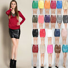 Womens Dress Ladies Candy Color Mini Faux Leather High Waist Skirts 4/6 8 10 12