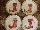 "222 FIFTH~CHRISMAS STOCKINGS~SET OF 4 APPETIZER 6.5"" PLATES~NEW"