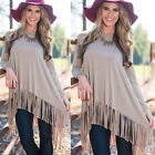 Fashion Women Lady Blouse Long Sleeve Tassel Loose Oversized Shirt Pullover Tops