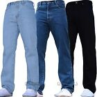NEW MENS STRAIGHT LEG REGULAR FIT PLAIN BLUE DENIM JEANS ALL WAIST & SIZES M1