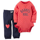"Carter's Girls 2 Piece Red Polka Dot ""Daddy's Girl"" Sugar Glitter Printed Bodysu"