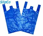 BLUE PLASTIC CARRIER BAGS STRONG VEST SHOPPING SUPERMARKET TAKEAWAY [12x18x24]