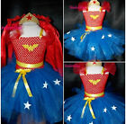 Girls Superhero Wonder Woman Costume Tutu dress & Hairband inspired 1-10 Fancy