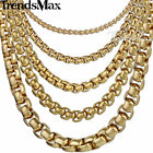 1/2/3.5/5mm Womens Mens Chain Round Box Link Gold Tone Stainless Steel Necklace