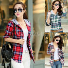 Women Checks Plaid Hoodies Button Shirt Long Sleeve Casual Blouse Tops M L XL