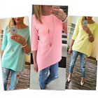 Fashion Womens Loose Pullover T Shirt 3/4 Long Sleeve Cotton Tops Blouse