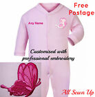 Embroidered Personalised Sleepsuit / Babygrow / Bib Butterfly  - Pink