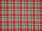 Cotton Homespun Fabric | Primitive Fabric | Red Green And Natural Plaid Fabric