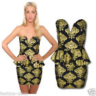CelebStyle  Gold  Baroque Print Cocktail Dress