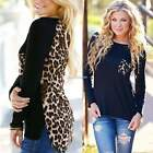 Leopard T-Shirt Blouse Chiffon Women Stylish Sexy Pullover Spring Fall Girls SH