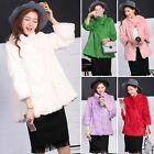 Fashion Womens Winter Real Rabbit Fur Long Sleeve Jacket Coat Overcoat Outwear