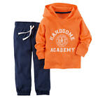 "Carter's Boys 2 Piece Orange ""Handsome Academy"" Hooded Pullover Cardigan & Navy"