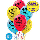 MICKEY OR MINNIE MOUSE 1ST BIRTHDAY PARTY SUPPLIES 15 LATEX BALLOONS DECORATIONS