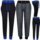 LADIES BLACK SLIM FIT TROUSERS 3 POCKETS TRACKSUIT CUFFED GYM PANTS UK SIZE 8-16