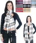 """Beautiful Fringed 72"""" Plaid Scarf w/ Vibrant Color Options"""