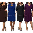 Womens Fashion Casual Belt Summer Pleated Dress Plus Size Solid Color L-3XL