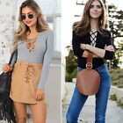 Sexy Womens Ribbed Front Plunge Lace up Tie Leotard Bodysuit Crop Tops Size 4-16