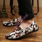 Brithsh Mens PU Leather Floral Slip On Casual Lofar Driving Moccasins Shoes NEW