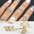 3*Women Gold&Silver Sweet Rhinestone Leaves Knuckle Top of Middle Finger Rings O