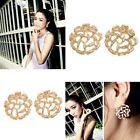 One Pair Stylish Round Hollow Alloy Lady Earrings Studs Flower Shape Party Acc