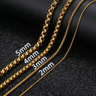 1/2/4/5mm Womens Mens Chain Round Box Link Gold Stainless Steel Chain Necklace