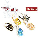 4pcs x Pear 14x10mm Bezel Leverback Earrings Setting Fit 4320 Choose Your Color