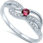 925 Sterling Silver Sideways Love Round Red  Ruby CZ Infinity  Ring Size 3-12