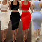 Sexy Lady Sleeveless Bandage Bodycon Party Cocktail Club Dress Two Piece Outfit