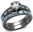 NEW size J L N P R T 5 6 7 Engagement Ring Blue Simulated Diamond steel LTK2845E