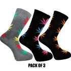 Rasta Weed Socks Marijuana Cannabis Leafs Leaves Unisex Adult fit 6-12 Pack Of 3