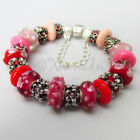 Authentic PANDORA Sterling Silver Charm Bracelet w/ Red P...