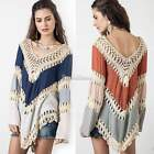 Boho Women Summer Beach Cover Up Irregular Hem Shirt Tops Blouse Tee Long Sleeve
