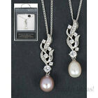 Equilibrium 59059 - FRESH WATER PEARL PLATINUM PLATED PAVE NECKLACE -  2 Designs
