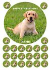 "LABRADOR CUTE PUPPY 7.5"" ROUND CAKE TOPPER & CUPCAKE TOPPERS ICING WAFER RICE"