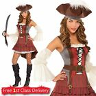 Womens Pirate Costume Deluxe Buccaneer Fancy Dress Outfit Ladies Wench Size 8-20