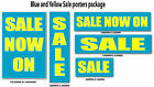 Blue and Yellow Sale posters  for shop windows and retail advertising