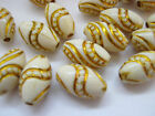 "Cream Oval Beads with Gold Swirl 14mm (5/8"")  Acrylic Jewellery Making Beads"