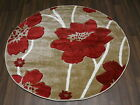 New Woven Backed Poppy Design Hand Carved 120x120cm In Beige/Red Stunning Rug