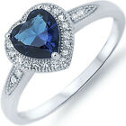 Sterling Silver Blue Sapphire Clear CZ Love Heart Valentine's Day Ring Size 3-11