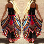 Boho Womens Retro Floral Gypsy Swing Long Skirt Summer Beach Hippie Maxi Dress