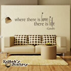 Where There Is Love There Is Life - Gandhi Vinyl Wall Decal Quote sticker L007 $16.0 USD