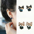 Women Luxury Bowknot Cube Crystal Earings Shinny Square Crystal Stud Earrings MO