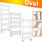 Designer Oval Column Heated Towel Rail Bathroom Heater UK Centre Heating White