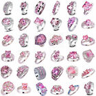 Fashion Pink Topaz Gemstone Silver Jewelry Gift For Lady Ring Sizes 6 7 8 9 10