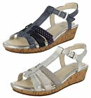 Girls Clarks T-Bar Wedge Summer Sandals Harpy Jen