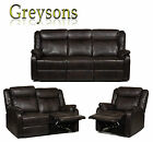 NEW LARKIN FULL RECLINING SOFA SET RECLINER ARMCHAIR LUXURY LEATHER-AIRE - BROWN
