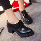 VTG British Style Women's Lace Up PU Leather High Heel Cuban Shoes Brogue Pumps