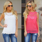 Sexy Women Sleeveless Vest Casual Cotton Lace Blouse Tank Tops T Shirt Hot