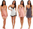Ladies Satin Chemise Lace Nightie Sleeveless Summer Nightdress Cami Vest Matte