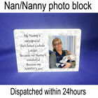 Nan nanny granny QUOTE & PHOTO GIFT shabby chic plaque unique gift new
